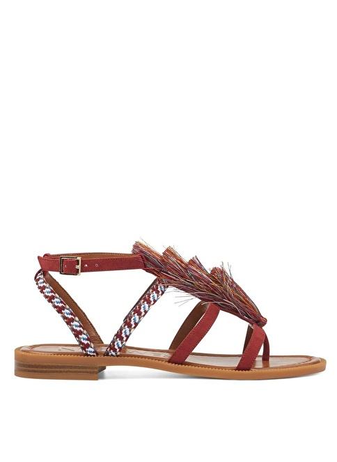 Nine West Bilekten Bağlamalı Sandalet Kırmızı